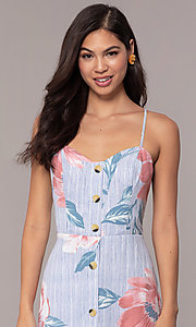 Image of midi-length floral-print casual party dress. Style: CT-A351A-K36T1 Detail Image 1