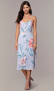 Image of midi-length floral-print casual party dress. Style: CT-A351A-K36T1 Detail Image 3