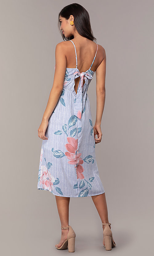 Image of midi-length floral-print casual party dress. Style: CT-A351A-K36T1 Back Image
