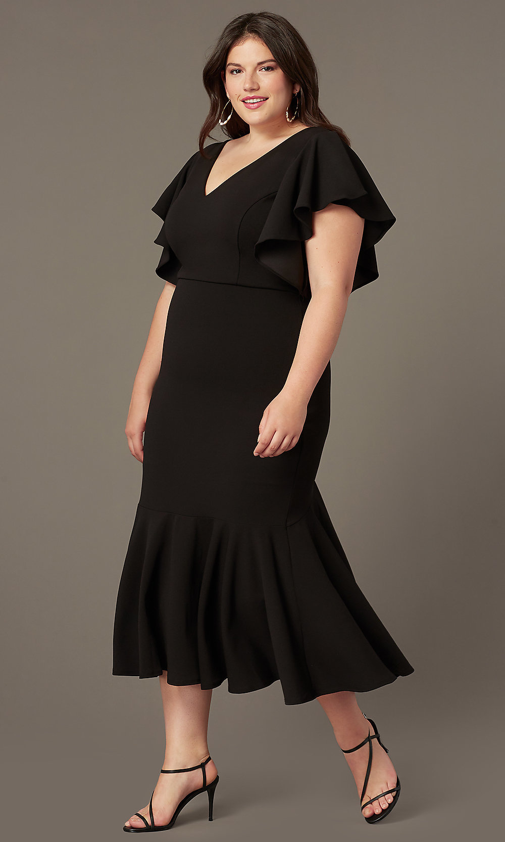 Flounced-Hem Sleeved Wedding-Guest Midi Plus Dress
