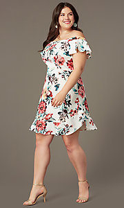 Image of floral-print short off-shoulder party dress. Style: SY-IXD6234EP Front Image