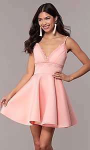Image of short fit-and-flare graduation dress with lace. Style: DC-D47256 Front Image