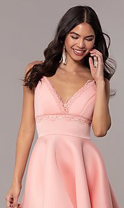 Image of short fit-and-flare graduation dress with lace. Style: DC-D47256 Detail Image 1