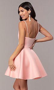 Image of short fit-and-flare graduation dress with lace. Style: DC-D47256 Back Image