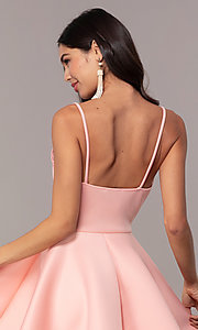 Image of short fit-and-flare graduation dress with lace. Style: DC-D47256 Detail Image 2