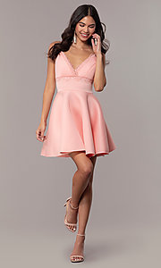 Image of short fit-and-flare graduation dress with lace. Style: DC-D47256 Detail Image 3