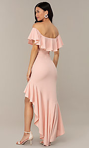 Image of high-low off-shoulder wedding-guest party dress. Style: DC-D47262 Back Image