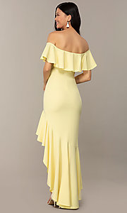 Image of high-low off-shoulder wedding-guest party dress. Style: DC-D47262 Detail Image 4