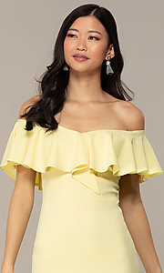Image of high-low off-shoulder wedding-guest party dress. Style: DC-D47262 Detail Image 5
