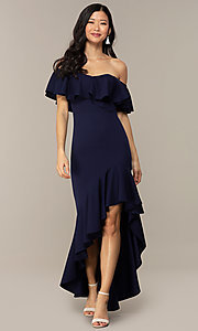 Image of high-low off-shoulder wedding-guest party dress. Style: DC-D47262 Detail Image 6