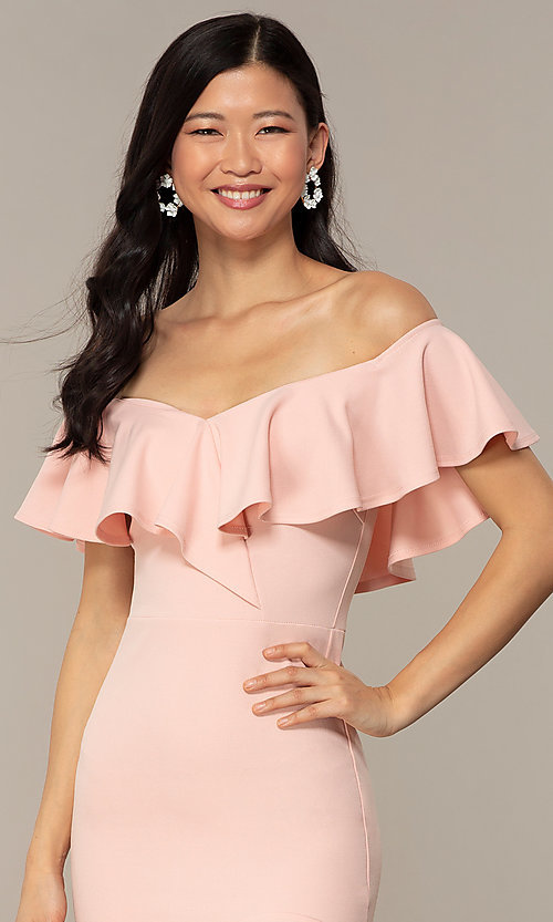 Image of high-low off-shoulder wedding-guest party dress. Style: DC-D47262 Detail Image 1