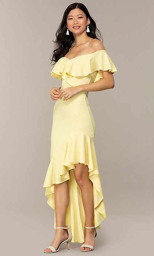 Image of high-low off-shoulder wedding-guest party dress. Style: DC-D47262 Detail Image 3
