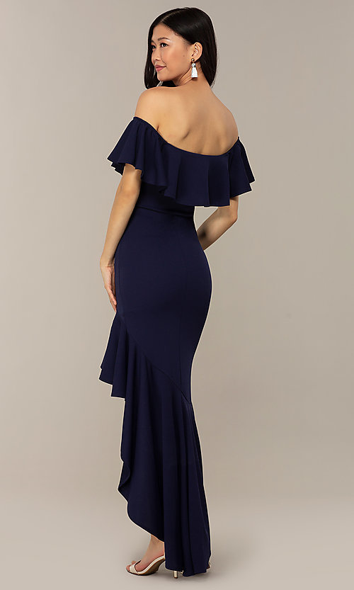 Image of high-low off-shoulder wedding-guest party dress. Style: DC-D47262 Detail Image 7