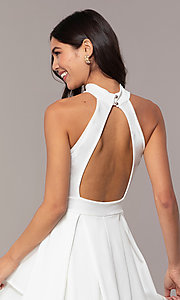 Image of tiered-skirt sleeveless short white party dress. Style: DC-D47176 Detail Image 2