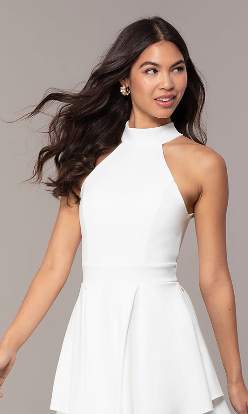 Image of tiered-skirt sleeveless short white party dress. Style: DC-D47176 Detail Image 1