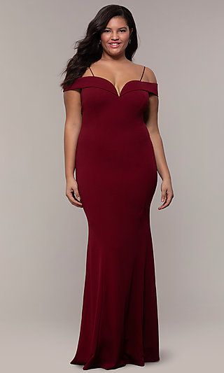 Off-the-Shoulder Long Plus-Size Prom Dress