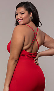 Image of plus-size long v-neck prom dress by Simply. Style: MCR-SD-2601P Detail Image 2