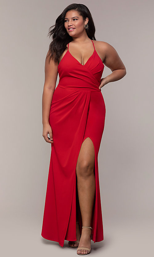 Image of plus-size long v-neck prom dress by Simply. Style: MCR-SD-2601P Front Image