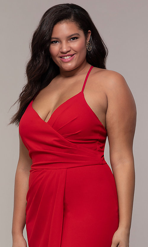 Image of plus-size long v-neck prom dress by Simply. Style: MCR-SD-2601P Detail Image 1