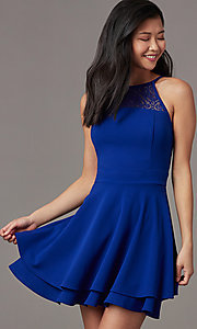 Image of short a-line party dress in royal blue. Style: EM-HAJ-4161-420 Detail Image 1
