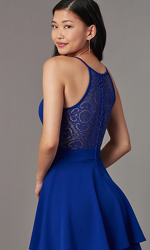 Image of short a-line party dress in royal blue. Style: EM-HAJ-4161-420 Detail Image 2