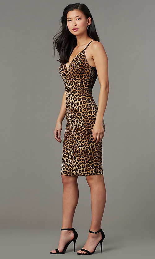 Image of lace-back leopard-print short party dress. Style: EM-HIY-4061-023 Front Image