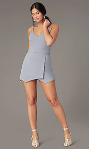 Image of unique faux-wrap v-neck casual romper in silver. Style: EM-HJR-1661-040 Front Image