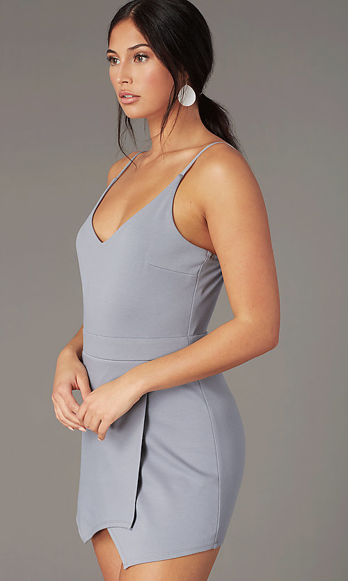 Image of unique faux-wrap v-neck casual romper in silver. Style: EM-HJR-1661-040 Detail Image 1