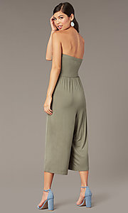 Image of cropped-leg strapless party jumpsuit in moss green. Style: EM-CUA-1189-319 Back Image