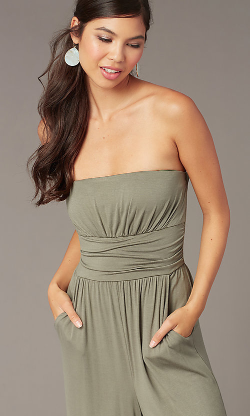 Image of cropped-leg strapless party jumpsuit in moss green. Style: EM-CUA-1189-319 Detail Image 1