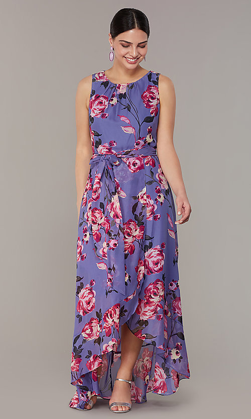 High Low Long Floral Print Wedding Guest Dress