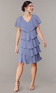 Image of tiered short shift wedding-guest dress for parties. Style: IT-117525-S Detail Image 3