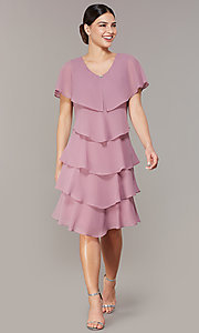 Image of tiered short shift wedding-guest dress for parties. Style: IT-117525-S Front Image