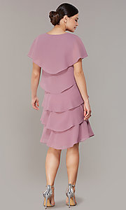 Image of tiered short shift wedding-guest dress for parties. Style: IT-117525-S Back Image