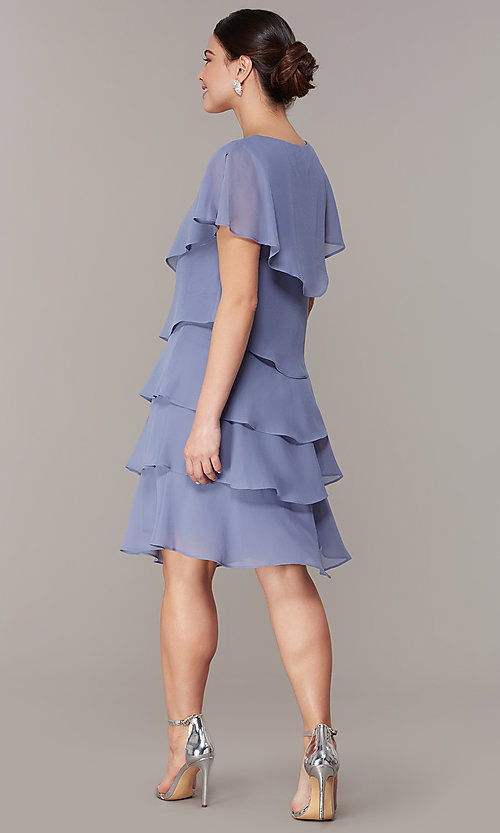 Image of tiered short shift wedding-guest dress for parties. Style: IT-117525-S Detail Image 4