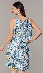 Image of floral-print tiered wedding-guest shift dress. Style: IT-9171303 Back Image