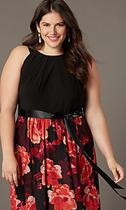 Image of long plus-size wedding-guest dress with print. Style: IT-9477192 Detail Image 1
