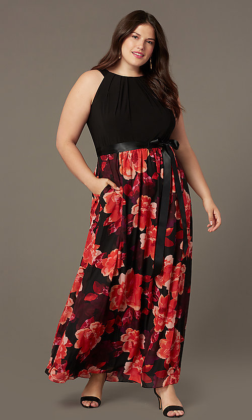 Image of long plus-size wedding-guest dress with print. Style: IT-9477192 Front Image