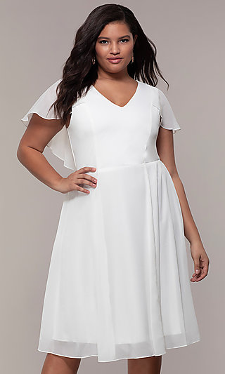Knee-Length V-Neck Plus-Size Party Dress - PromGirl