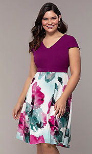 Image of magenta-print knee-length wedding-guest dress. Style: MCR-2531 Front Image