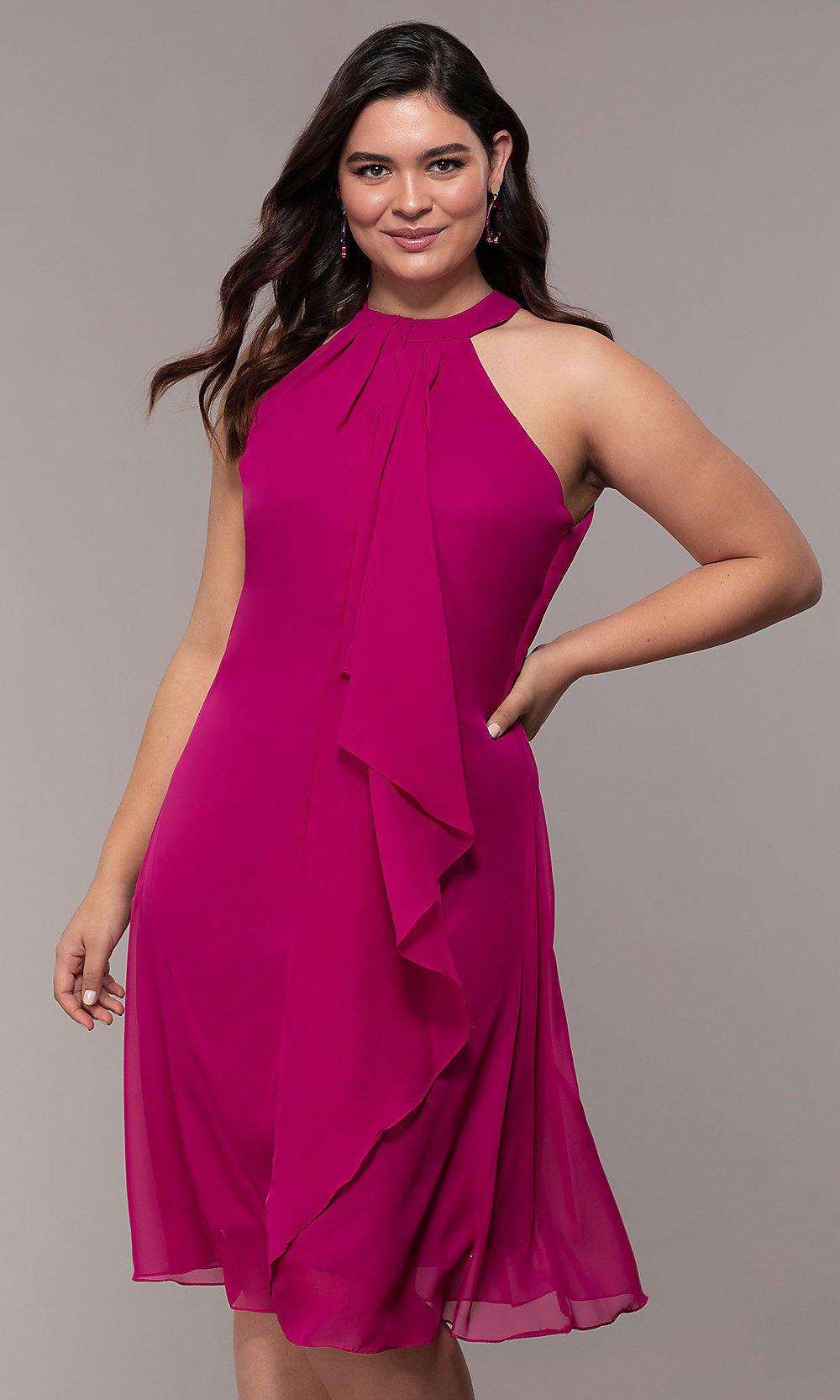 Short High-Neck Wedding Guest Plus-Size Shift Dress