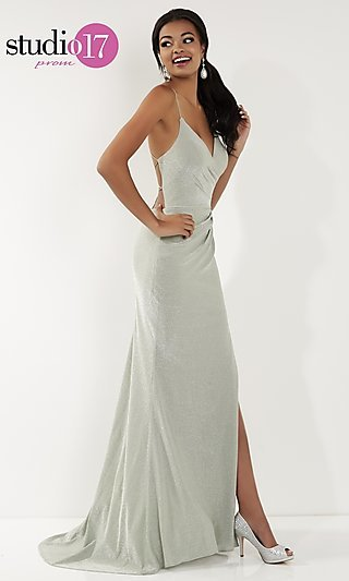 Metallic V-Neck Prom Dress with an Open Back