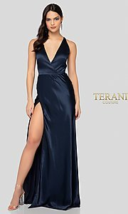 Image of long classic navy blue satin v-neck formal gown. Style: TI-1912P8278 Front Image