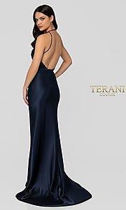 Image of long classic navy blue satin v-neck formal gown. Style: TI-1912P8278 Back Image