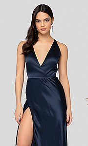 Image of long classic navy blue satin v-neck formal gown. Style: TI-1912P8278 Detail Image 1