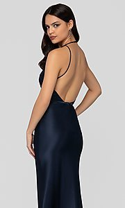 Image of long classic navy blue satin v-neck formal gown. Style: TI-1912P8278 Detail Image 2