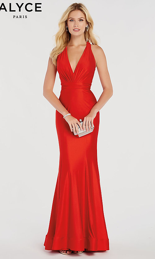 Image of Alyce designer prom dress with criss-cross straps. Style: AL-60285 Front Image