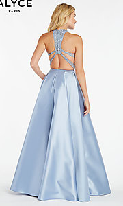 Image of long racerback formal prom dress with cut outs. Style: AL-60331 Back Image