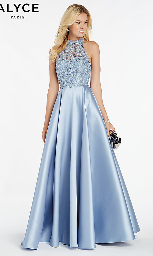 Image of long racerback formal prom dress with cut outs. Style: AL-60331 Front Image