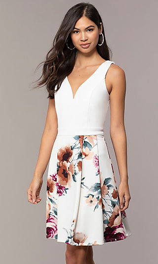 Short V-Neck Simply Party Dress with Print Skirt